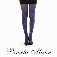 【摩達客】英國進口義大利製【Pamela Mann】小豹紋紫色印花彈性褲襪