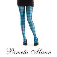 【摩達客】英國進口義大利製【Pamela Mann】藍綠方格紋印花彈性褲襪