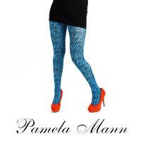 【摩達客】英國進口義大利製【Pamela Mann】藍綠小斑馬紋彈性褲襪