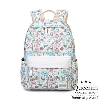 DF Queenin日韓 - 韓版艾菲爾鐵塔圖案帆布款後背包