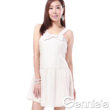 奇妮專櫃-淡雅甜美風格蝴蝶結洋裝