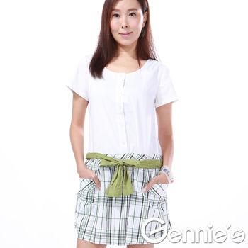 奇妮專櫃-學院風清新格紋拼接洋裝-綠
