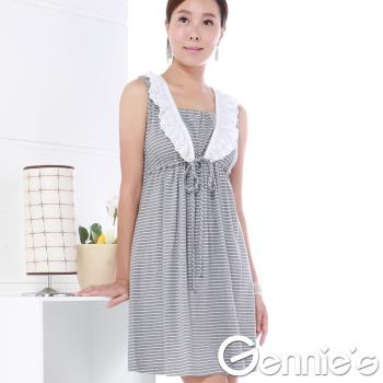 奇妮專櫃-蕾絲荷葉領拼接條紋洋裝-灰