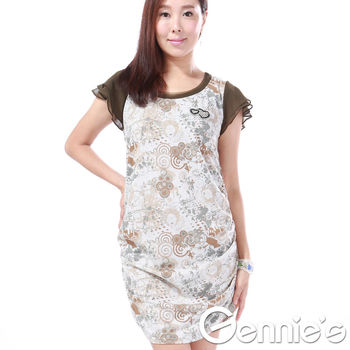 奇妮專櫃-復古花卉拼接雪紡洋裝