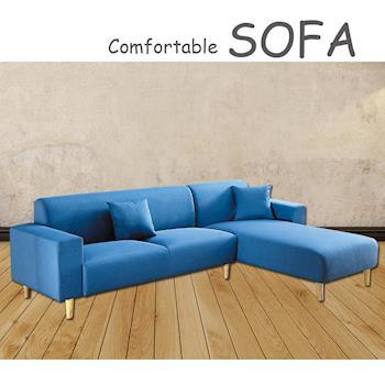 【時尚屋】[U6]傑克藍色布套三人L型沙發U6-919-20SB
