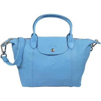 Longchamp Le Pliage Cuir 折疊小羊皮短把兩用包.水藍 #1512