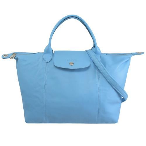 Longchamp Le Pliage Cuir 折疊小羊皮短把兩用包.水藍 #1515