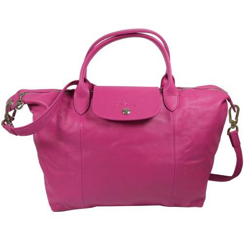 Longchamp Le Pliage Cuir 折疊小羊皮短把兩用包.桃紅 #1515