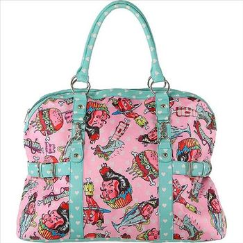 【摩達客】美國Iron Fist鐵拳搖滾甜蜜蜜粉紅藍托特包過夜包肩背包斜背包單肩包側背包