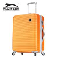 【英國 Slazenger 史萊辛格】 24吋 珠光橫條紋行李箱/拉桿箱/旅行箱(陽光橘)
