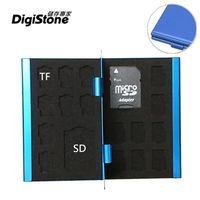 DigiStone 超薄型Slim鋁合金 18片裝雙層多功能記憶卡收納盒(2SD+16TF)-藍色