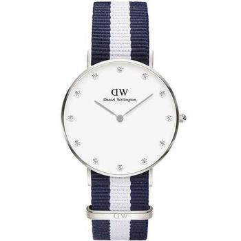 DW Daniel Wellington★贈保護貼DW00100082 / Classy Winchester 優雅格拉斯哥尼龍腕錶 白x藍 34mm