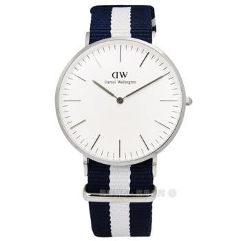 DW Daniel Wellington★贈保護貼Classic Glasgow 藍帶地中海尼龍手錶 40mm 藍x白 / DW00100018