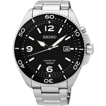 SEIKO 精工 KINETIC 衝鋒突擊人動電能腕錶-黑/44mm 5M82-0AY0D(SKA747P1)