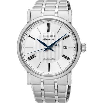 SEIKO 精工 Premier 系列超薄機械腕錶-白/40mm 4R35-01C0S(SRPA17J1)