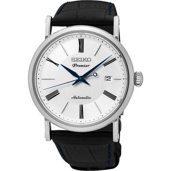 SEIKO 精工 Premier 系列超薄機械腕錶-白/40mm 4R35-01C0P(SRPA17J2)