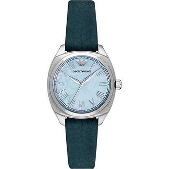 Emporio Armani 羅馬爵士腕錶-珍珠貝x銀x綠/34mm AR1953