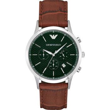 Emporio Armani Classic 都會新貴計時腕錶-綠x咖啡/43mm AR2493
