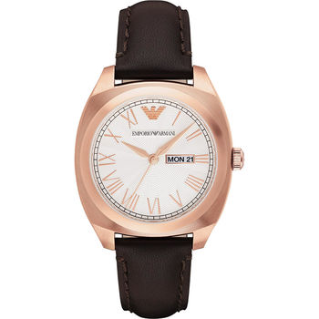 Emporio Armani 羅馬爵士腕錶-銀x玫塊金框x咖啡/40mm AR1939