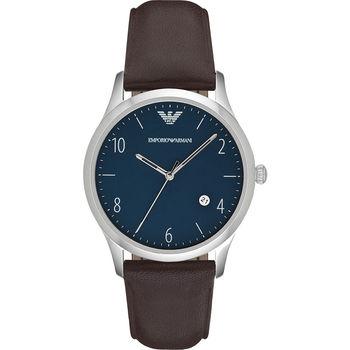 Emporio Armani Classic 紳士復刻經典腕錶-藍x咖啡/42mm AR1944