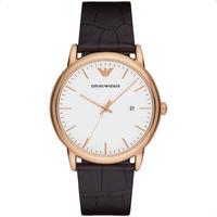 Emporio Armani Classic 都會時尚石英腕錶-白x玫塊金x咖啡/42mm AR2502