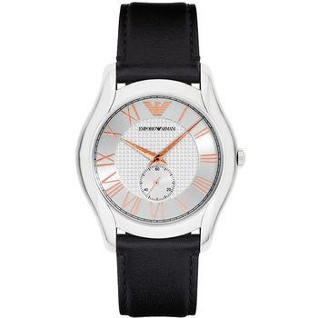 Emporio ARMANI 羅馬時尚小秒針腕錶-銀x黑/43mm AR1984