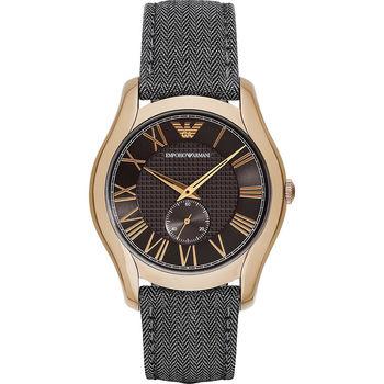 Emporio ARMANI 亞曼尼羅馬小秒針腕錶-咖啡x古銅金/43mm AR1985