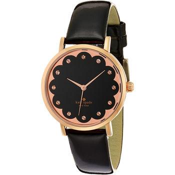 Kate Spade NEW YORK Metro風靡腕錶-黑x玫塊金框/35mm 1YRU0583
