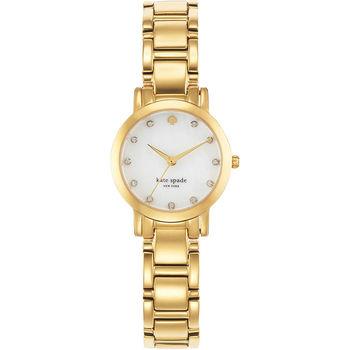 Kate Spade Gramercy 紐約甜心晶鑽腕錶-珍珠貝x金/25mm 1YRU0145