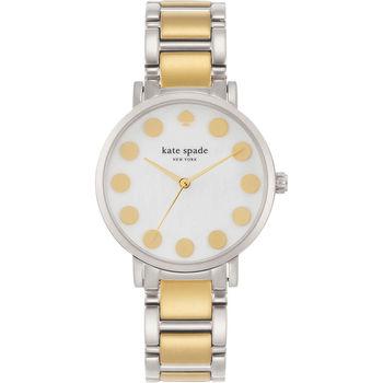 Kate Spade NEW YORK Metro 點點腕錶-銀x雙色/35mm 1YRU0738