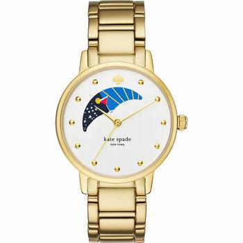 Kate Spade Gramercy 阿波羅月相時尚腕錶-銀x金/34mm KSW1072