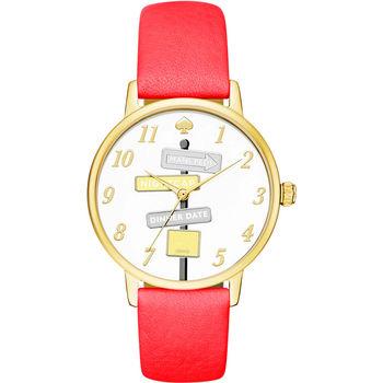Kate Spade Merto 沒時間問路腕錶-金框x桃紅/34mm KSW1127