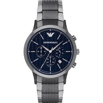 Emporio Armani 亞曼尼紳士時尚計時腕錶-深藍x鐵灰/43mm AR2505
