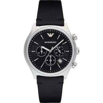 Emporio ARMANI 亞曼尼紳士風計時腕錶-黑/44mm AR1975
