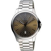 GUCCI G-Timeless 古馳菱格紋時尚腕錶-咖啡x銀/40mm YA126317