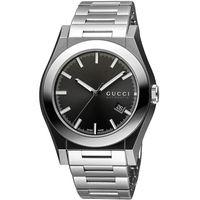 GUCCI Pantheon 紳士機械腕錶-黑x銀/44mm YA115201