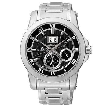 SEIKO PREMIER 人動電能羅馬帝國萬年曆腕錶-黑/41mm/7D56-0AB0D(SNP093J1)