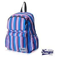 【KANGOL 英國袋鼠】「JUNGLE」機能時尚線條紋後背包(藍條紋 KG1111-I)