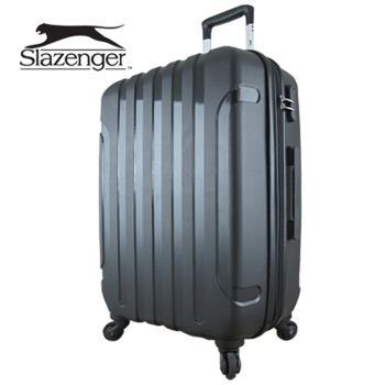 【英國 Slazenger 史萊辛格】 24吋 駭客直條紋行李箱/拉桿箱/旅行箱(爵士黑)