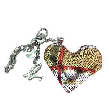 agnes b.立體愛心條紋亮片造型吊飾(紅)