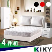 KIKY 紅色戀人布靠枕四件組-床頭片+床底+床邊二抽櫃+2尺衣櫃-雙人5尺
