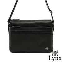 Lynx - 山貓真皮經典款極品型男橫式斜背包(大)-共2色
