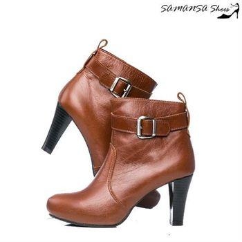 莎曼莎手工鞋【MIT全真皮】 帥氣內增高側拉鍊皮帶扣飾拼接寬口踝靴 #14903-復古棕
