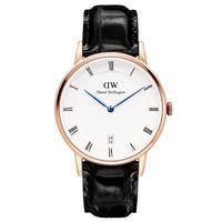 Daniel Wellington Dapper 黑色皮革腕錶-金框 34mm DW001