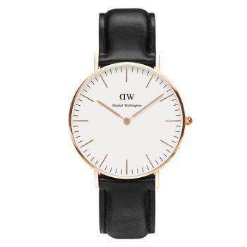 DW Daniel Wellington 瑞典簡約時尚皮革錶帶-金框/36mm(0508DW)