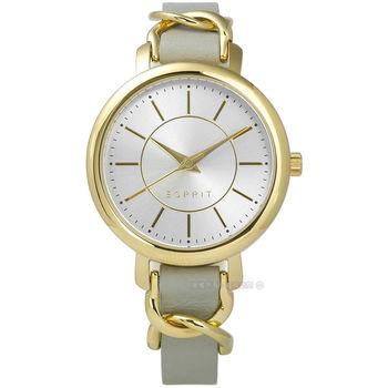 ESPRIT / ES109342002 / 環繞氣質名媛典雅質感真皮手錶 銀x金框x灰 34mm