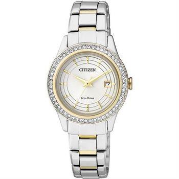 CITIZEN LADY 光動能晶鑽限量女錶-銀x雙色版/28mm FE1124-82A