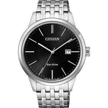 CITIZEN 星辰 ECO-Drive 光動能紳士腕錶-黑x銀/40mm BM7301-57E
