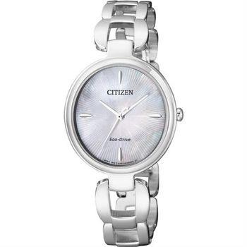 CITIZEN 星辰 L系列 限量光動能手鍊錶-白蝶貝x銀/28mm EM0420-89D