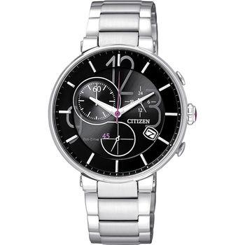 CITIZEN Eco-Drive 時尚趣味計時腕錶-黑/32mm FB1200-51E